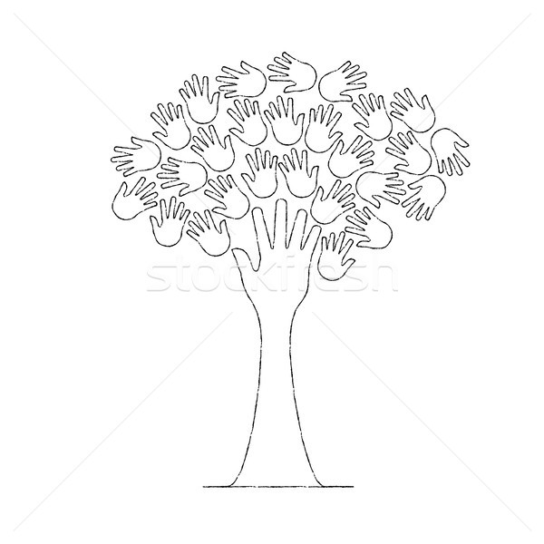 Hand tree concept in outline style for social help Stock photo © cienpies