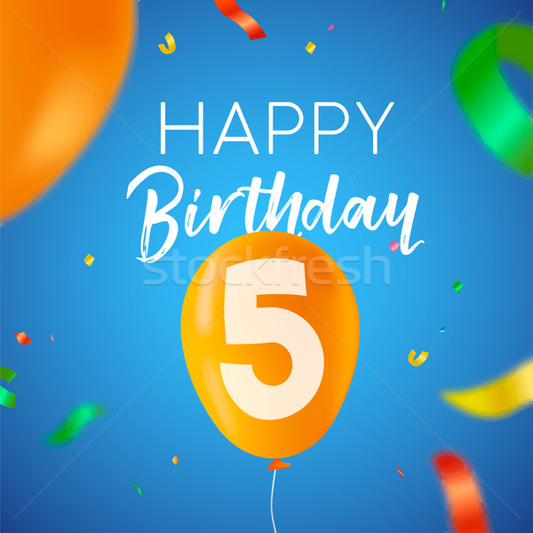 Happy birthday 5 five year balloon party card Stock photo © cienpies