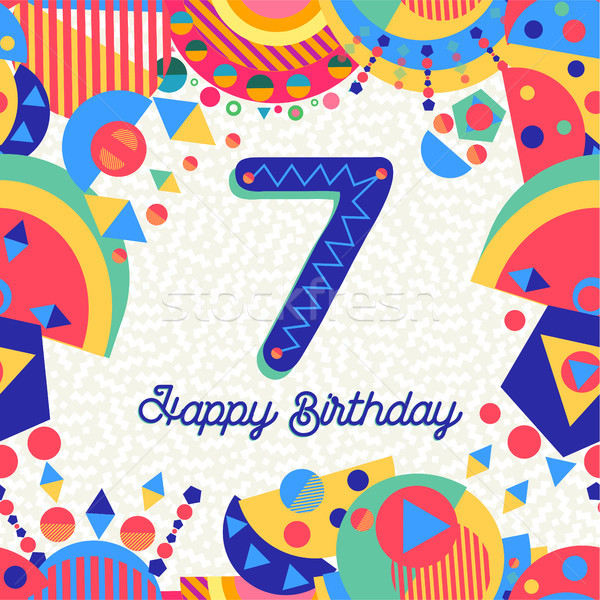 Seven 7 year birthday party greeting card number Stock photo © cienpies