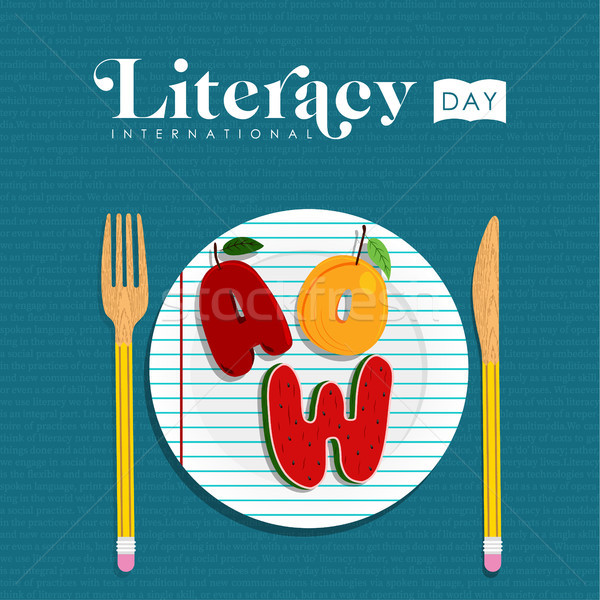 Literacy day concept of food letter for education Stock photo © cienpies