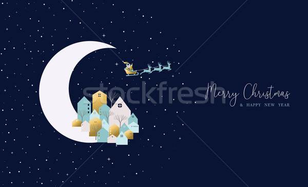 Christmas and new year card of city on xmas eve Stock photo © cienpies