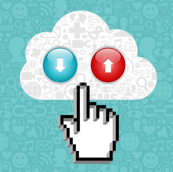 Сток-фото: кнопки · курсор · стороны · облаке · иконки