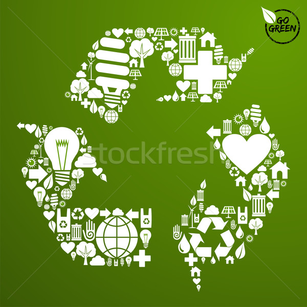 Vert recycler symbole forme vecteur Photo stock © cienpies