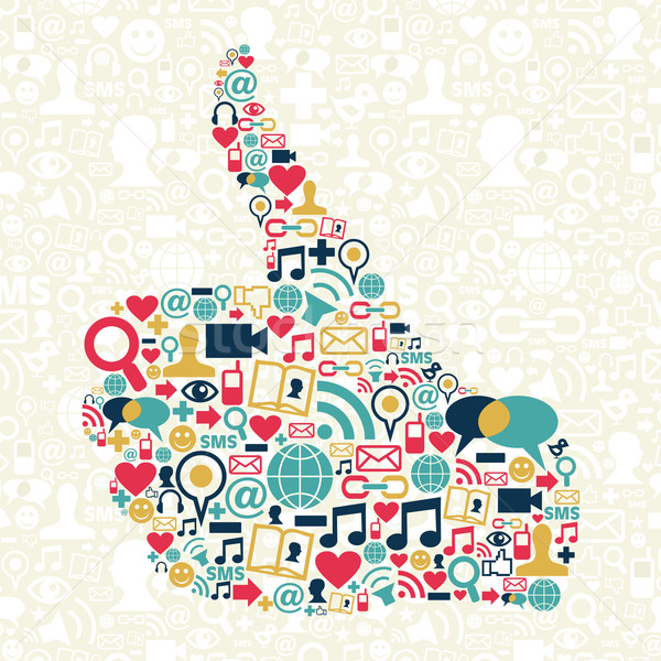Thumb up Social media icons texture Stock photo © cienpies