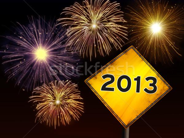 ストックフォト: 明けましておめでとうございます · 花火 · 道路 · 2013 · 年 · 黄色