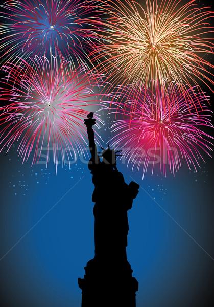 с Новым годом фейерверк США Нью-Йорк свободы статуя Сток-фото © cienpies