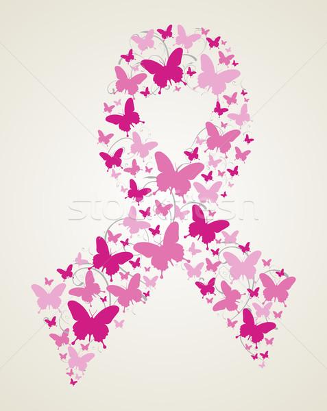 Vlinder borstkanker bewustzijn lint roze vlinders Stockfoto © cienpies