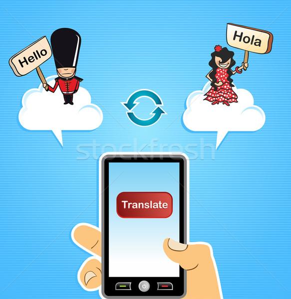 человеческая рука мобильных интернет перевод Сток-фото © cienpies