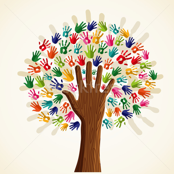 Colorful multi-ethnic tree Stock photo © cienpies