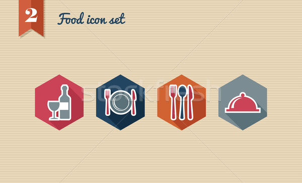 Restaurant food flat icons set. Stock photo © cienpies