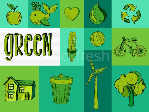 Hand gezeichnet grünen Ressourcen Symbole Skizze Stil Stock foto © cienpies