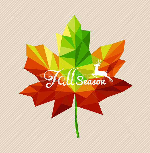 Autumn fall season text triangle leaf shape EPS10 file backgroun Stock photo © cienpies
