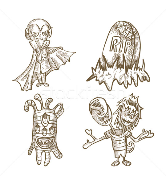 Halloween monsters isolated sketch style creatures set. Stock photo © cienpies