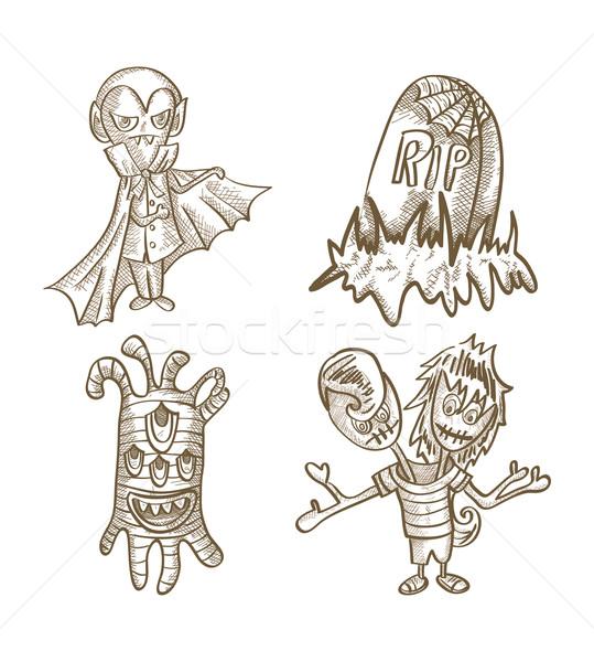 Хэллоуин Монстры изолированный эскиз стиль Существа Сток-фото © cienpies