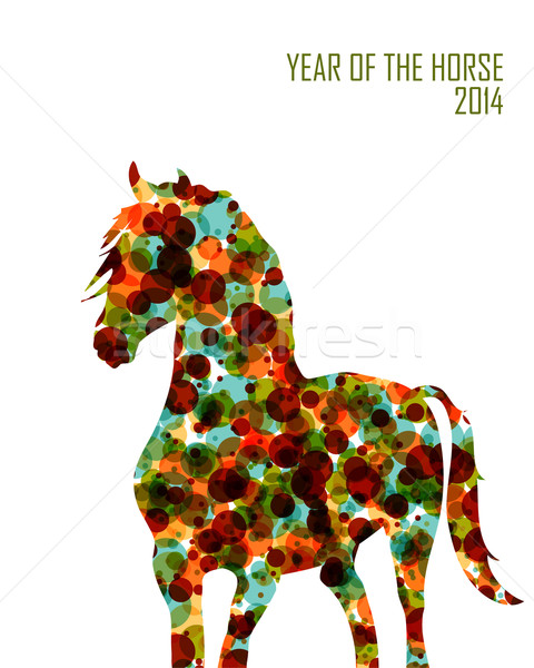 Chinese new year of the Horse shape bubbles EPS10 file. Stock photo © cienpies