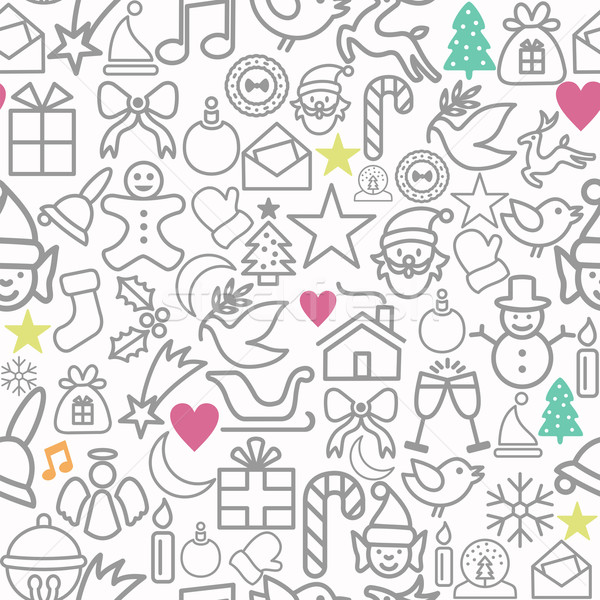 Merry Christmas wrapping paper pattern outline icons Stock photo © cienpies