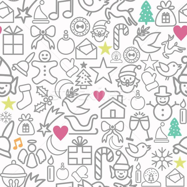 Allegro Natale carta da imballaggio pattern contorno icone Foto d'archivio © cienpies