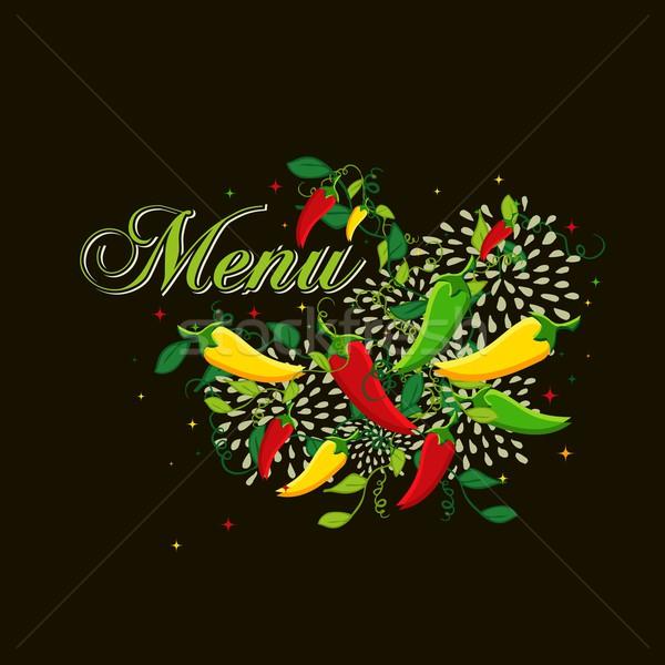 Mexicaans eten menu dekken ontwerp illustratie kleurrijk Stockfoto © cienpies