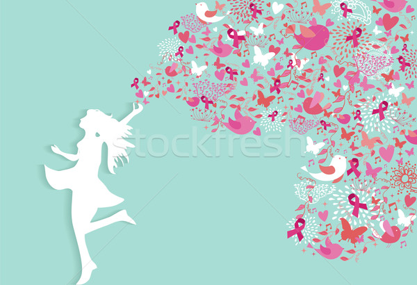 Breast cancer healthy woman silhouette pink ribbon Stock photo © cienpies