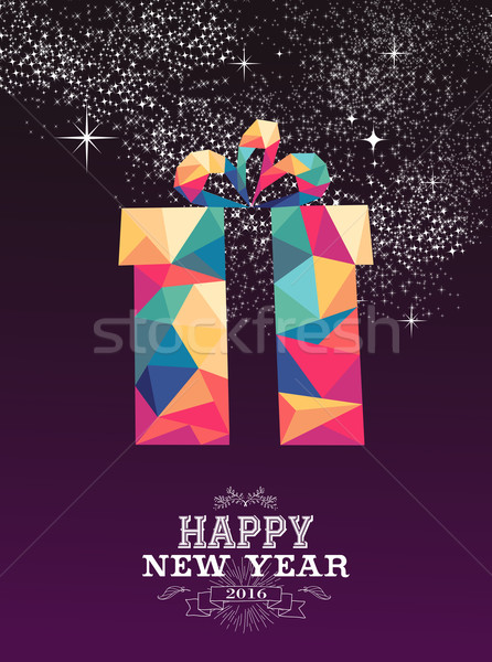 Happy new year 2016 gift triangle hipster color Stock photo © cienpies