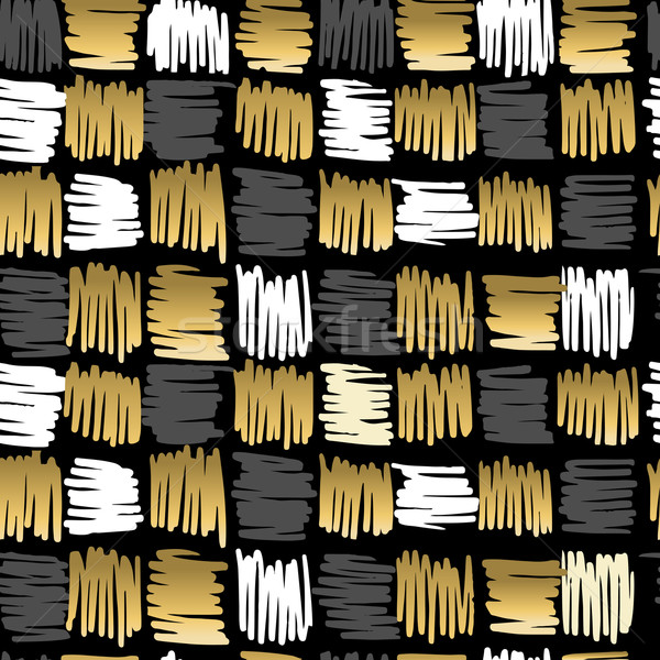 Gold scribble square fancy pattern seamless retro Stock photo © cienpies