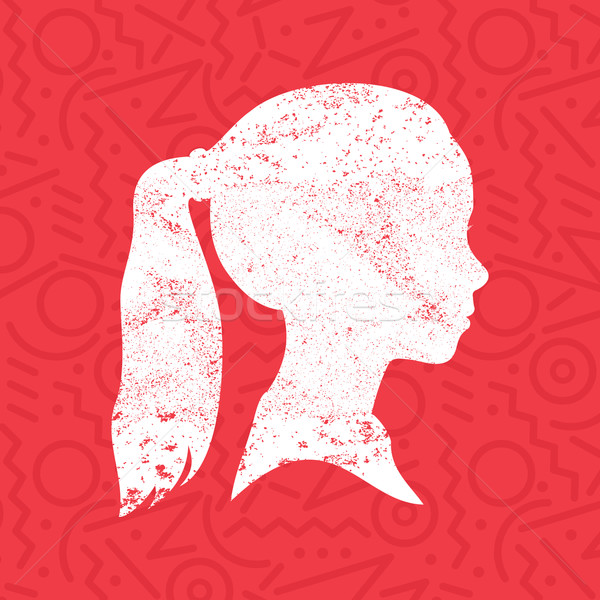 Sziluett kislány fej profil gyermek művészet Stock fotó © cienpies
