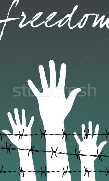 hands behind a barbed wire prison with the word Freedom Stock photo © cienpies
