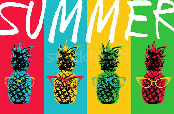 Summer pineapple color design with hipster glasses Stock photo © cienpies