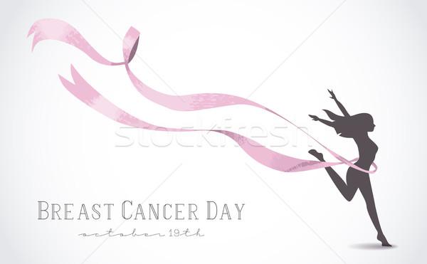 Lány sziluett rózsaszín szalag mellrák egészséges nő Stock fotó © cienpies