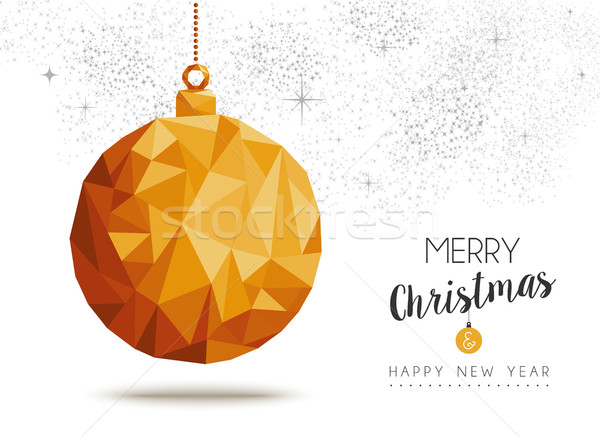 Gold Christmas and new year ornament in low poly Stock photo © cienpies