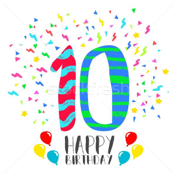 Feliz cumpleaños tarjeta 10 año nino diversión Foto stock © cienpies