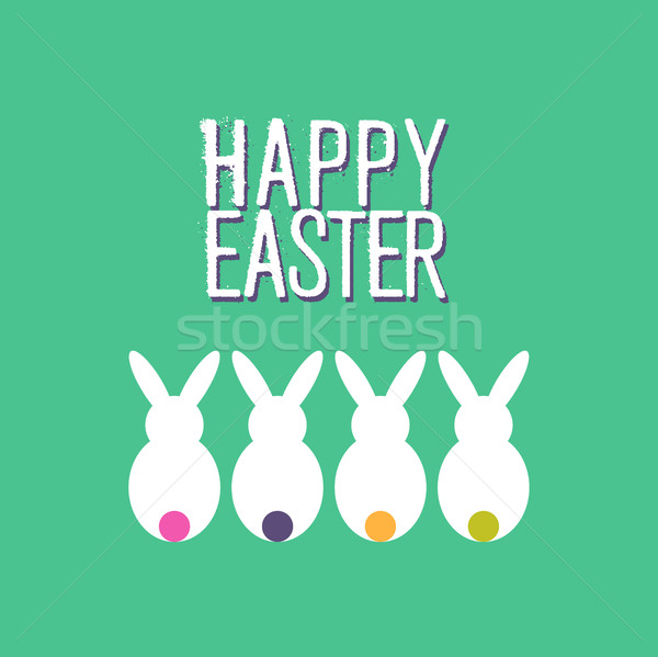 Happy easter funny rabbit greeting card design Stock photo © cienpies