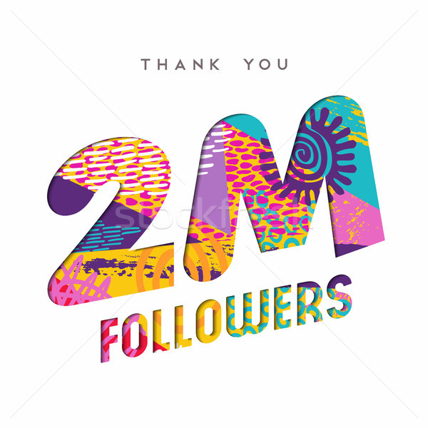 2 million internet follower number thank you card Stock photo © cienpies