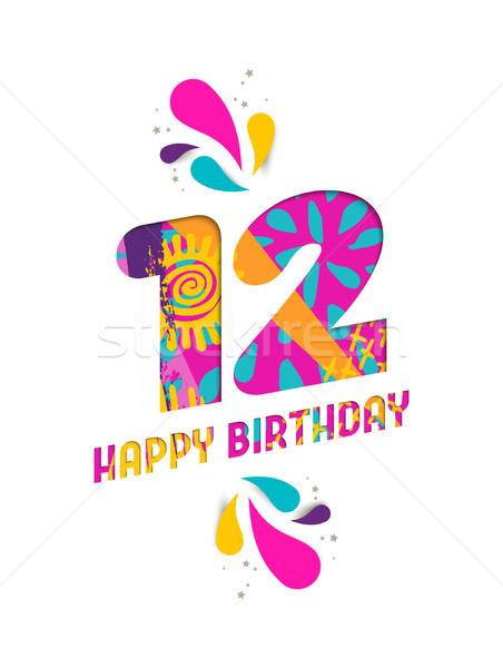 Happy birthday 12 year paper cut greeting card Stock photo © cienpies