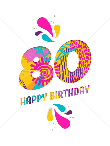 Joyeux anniversaire 80 année papier coupé carte de vœux Photo stock © cienpies