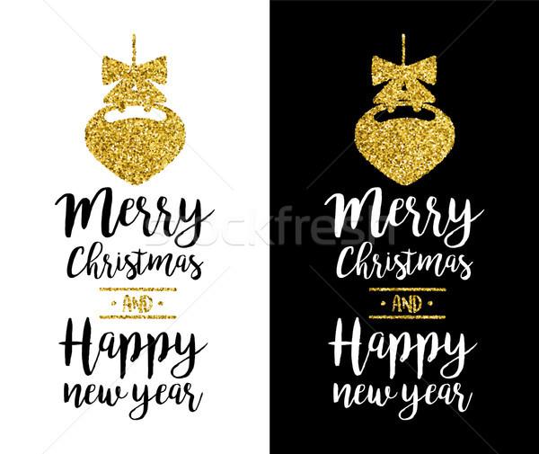 Vidám karácsony arany csillámlás idézet üdvözlőlap Stock fotó © cienpies