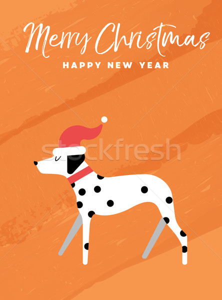 Christmas and new year holiday dalmatian dog card Stock photo © cienpies