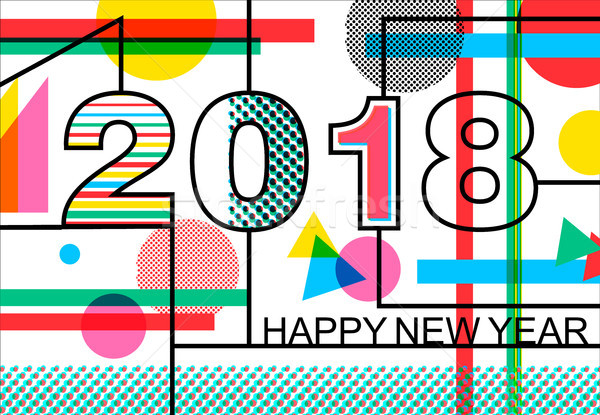 Happy New Year 2018 geometric color greeting card Stock photo © cienpies