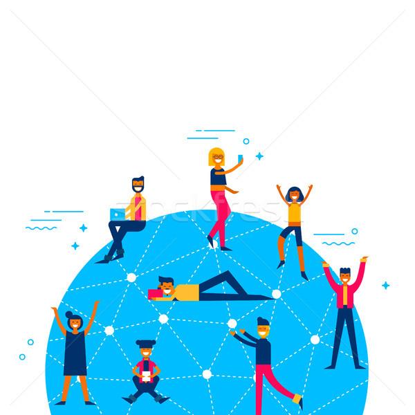 Ludzi światowy social media sieci około świat Zdjęcia stock © cienpies