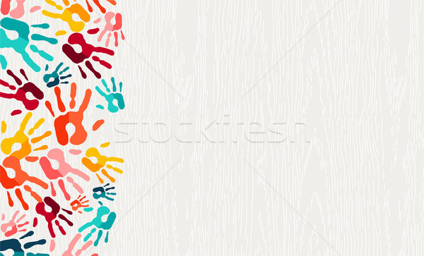 Colore mano stampa vernice arte mano umana Foto d'archivio © cienpies