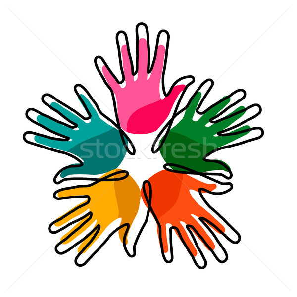 Hands together concept for social help Stock photo © cienpies