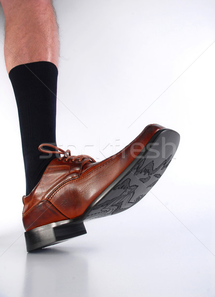 Male hairy leg with black sock and brown shoe.  Stock photo © cienpies