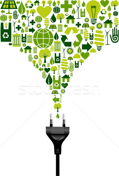Environmental icons set splash and electric plug Stock photo © cienpies