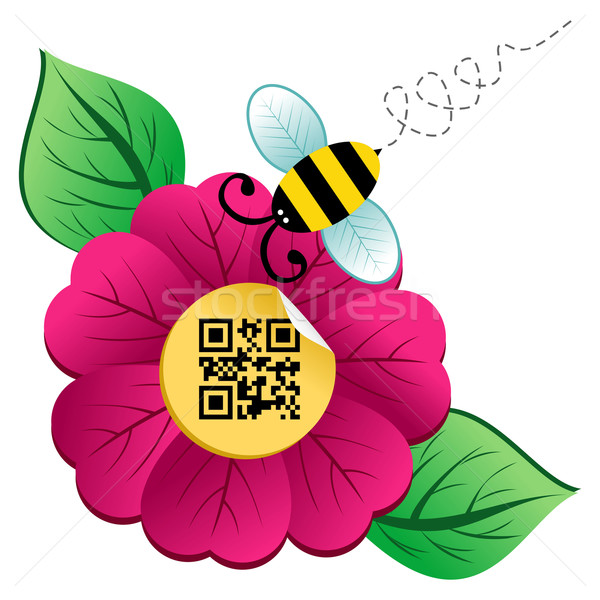 Spring time flower and Bee with qr code Stock photo © cienpies