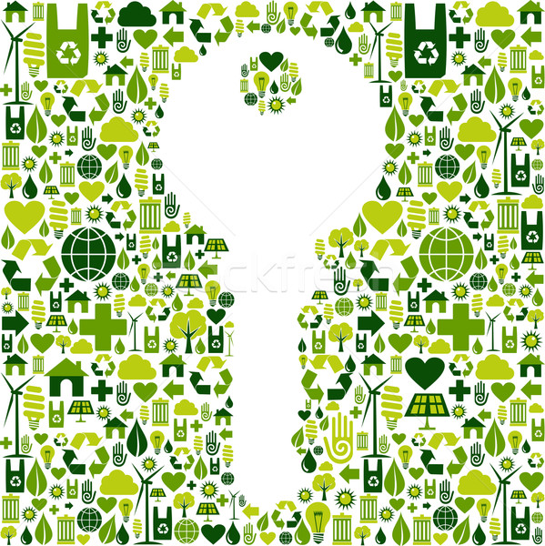 Key with green icons background Stock photo © cienpies