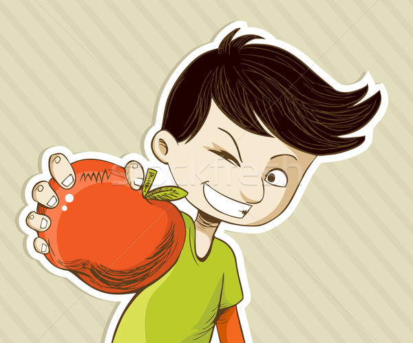 Healthy food cartoon teenager boy with red