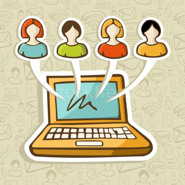 Social media people online interaction Stock photo © cienpies