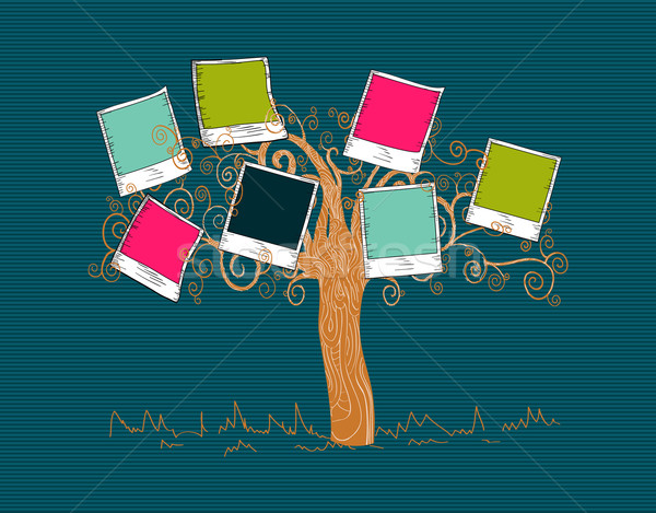 Vintage colors instant photo tree Stock photo © cienpies