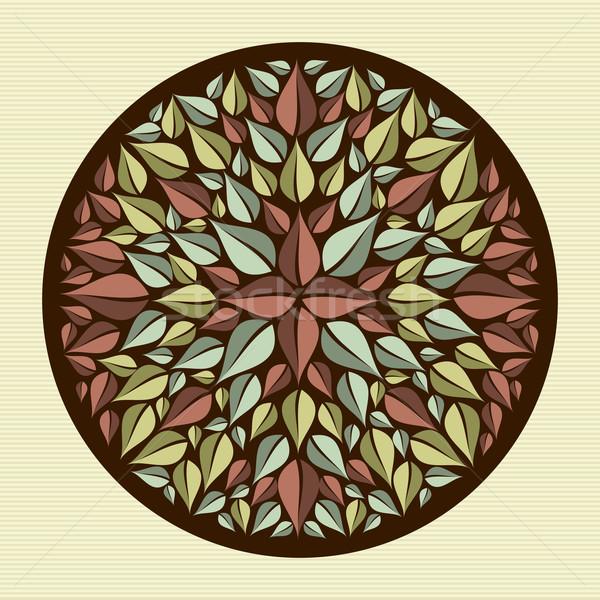 Leaves yoga mandala Stock photo © cienpies