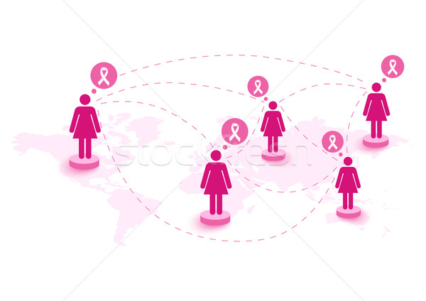 Breast cancer awareness ribbon women speech global map. EPS10 fi Stock photo © cienpies